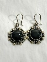 Vintage Sterling Silver Signed CII Mexico 925 Round Black Onyx Drop Earrings