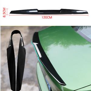120cm Car Rear Wing Lip Spoiler Black Tail Trunk Roof Bonnet Trim Sticker Decor