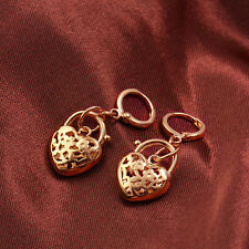 Arab Fashion 9K Rose Gold Filled Womens Heart Dangle Earrings,E1048