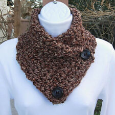 NECK WARMER SCARF Dark Brown Tan Rust Soft Handmade Crochet Buttoned Winter Cowl