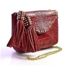 RARE! Zara Rouge en cuir véritable épaule Sac Pompons cloutée bloggers