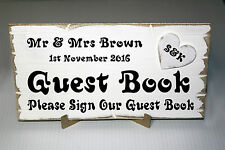 Personalised Wedding GUEST BOOK Sign Shabby Chic Wooden Reception Sign