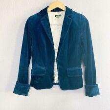 J. Crew Women's Velvet Ecole Blazer Navy Blue Jacket Size 2 Career Work