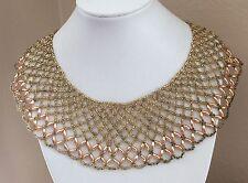 Gold Tone Seed Bead Vintage Bib Collar Beaded Necklace
