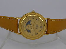 New Old Stock Swiss Heuer Gold-Plated quartz date moonphase dress watch in box