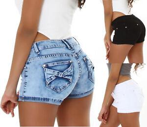 Jeans Shorts Damen Kurze Hose Shorts mit Schleifen