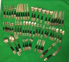 Siam Rare 1950 Vintage 61 Pcs Bronze Tableware/Flatware Rosewood & Brass No Box