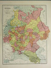1904 ANTIQUE MAP ~ RUSSIA IN EUROPE ~ NORONEJ MINSK POLAND FINLAND OLONETZ