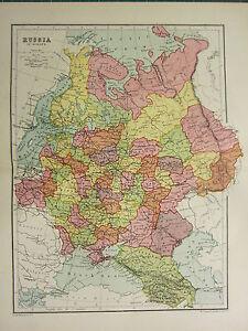 1904 ANTIQUE MAP ~ RUSSIA IN EUROPE ~ NORONEJ MINSK POLAND FINLAND OLONETZ