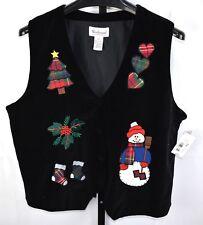 NWT Westbound Black Velveteen Christmas Applique Vest Size XL
