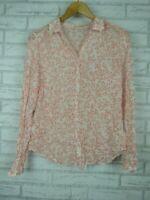 Boden Top/blouse White, red floral print Sz UK 12 [AU10]