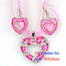 Heart Design New Enamel Dangle Pendant Necklace Silk Cord Earrings Sets 101