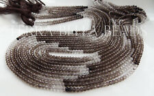 """16"""" AAA shaded SMOKY QUARTZ faceted gem stone rondelle beads 2.8mm brown ombre"""