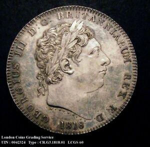 1818 EF George III Silver Crown Coin VIII LCGS 60 (AU58-MS60)