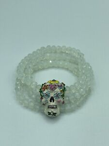NEW! KIRKS FOLLY - SUGAR SKULL DREAMS STRETCH CRYSTAL BEADED ENAMEL BRACELET 9""