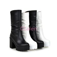Lady's Riding Slouch Goth Mid Calf Boots Platform Ruched Shoes Block High Heel