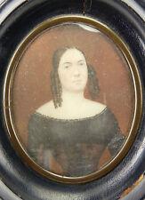 Miniature peinte époque premier empire portrait defemme Numérotation au dos