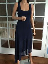 Auth. CHANEL CC Logo Navy Sleeveless Maxi Dress with Cape sz 42/44?