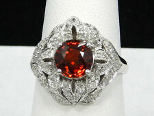 14K WHITE GOLD ROUND CUT SPESSARTITE GARNET AND DIAMOND RING