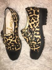 SAM EDELMAN Melanie Leopard-Print Brahman Hair Exfords sz 5 new