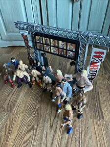 Huge Wwe Wwf Action Figure Lot 1997-98 With Raw Entrance Stage