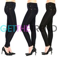 Womens Plus Size High Waisted Denim Blue Black Jeggings Jean Leggings 8 - 32