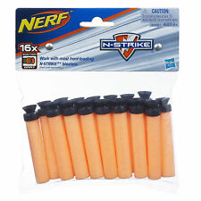 16 Pack Nerf N-Strike Replacement Nerf Guns Suction Darts Black Tip NEW Hasbro