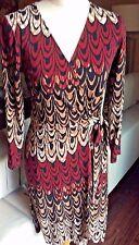 BCBG Max Azria Adele Size S Wrap Dress Maroon Camel Black White NWOT!