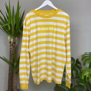 Guess T-Shirt Deadstock Long Sleeve Yellow/White Stripe Mens Size Medium
