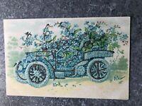 Blue Car Vintage Postcard