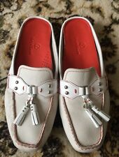 COLE HAAN WHITE LEATHER Driving Moccasins Slides Mules Tassle Loafer Shoes 9.5B
