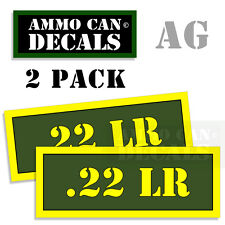 22 LR Ammo Ammo Can Box Decal Sticker bullet ARMY Gun safety Hunting 2 pack AG