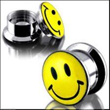 "PAIR-Smiley Face Steel Stash Screw On Plugs 12mm/1/2"" Gauge Body Jewelry"
