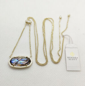 New Kendra Scott Delaney Pendant Necklace In Abalone Pearl / Gold
