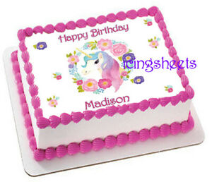 Unicorn rainbow custom personalized birthday edible frosting cake top Icing