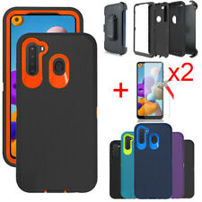 For Samsung Galaxy A21 Case Phone Cover Holster Belt Clip Glass Screen Protector