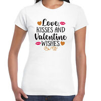 Love and kisses and Valentine wishes Ladies T Shirt - Valentine Gift