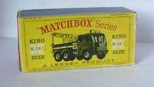 Repro Box Matchbox King Size K-12 Heavy Breakdown Wreck Truck