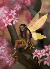 Ethnic Aceo Magic Africa Fairy Faerie Pink Flowers Fantasy Sfa - Brandy Woods