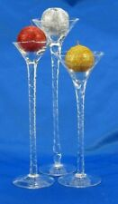 Set of 3 Twisted Stemmed Hand blown Glass Candle Holders w/ Glitter Ball Candle