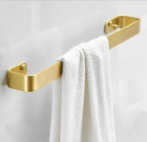 Bathroom Towel Rack Single Bar Rail Bath Wall Hanger Shelf Aluminum Brushed Gold
