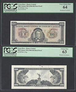 Costa Rica Essay Proof Obverse & Reverse 100 Colone 1966-68 P234p Uncirculated