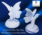 FENTON Art Glass-USA Handmade-Blue SLAG Glass BUTTERFLY On Branch Ring Holder