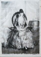 """George Bellows lithograph """"Lady With A Fan"""" (Emma In A Chair) (Mason 111), 1921"""