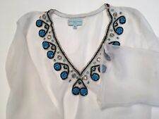 BEACH COVER UP Tunic Mini Dress Sarong Pareo Kimono Sz M Crepe Sheer Embellished