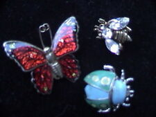 hat pins butterfly ladybug honeybee brooch lot of 3 winged insect lapel