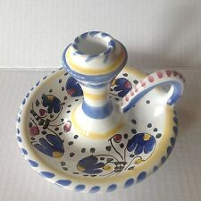 Italian Pottery Deruta Michelangelo Candleholder w Handle blue flowers design