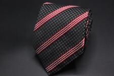 ERMENEGILDO ZEGNA COUTURE Silk Tie. Whimsical Black w Red & White Stripes.