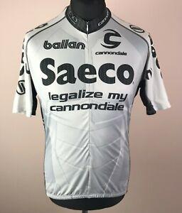 Saeco Tour de France 2003 Cannondale Grey Cycling Jersey Men's Size XL 3/4 Zip