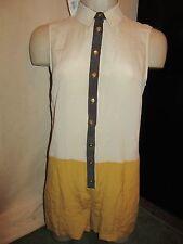 BNWT £55 UK 10 TopShop Playsuit 100% Silk Cream Mustard Sleeveless Shirt Dressy